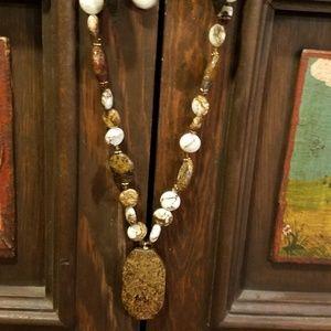 Beaded polished ethnic  stone necklace